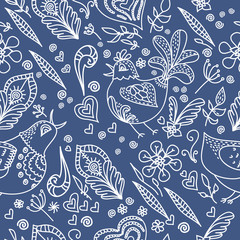 Birds and flowers vector blue background. Spring and summer hand drawn doodle seamless pattern. Vector illustration. EPS 10