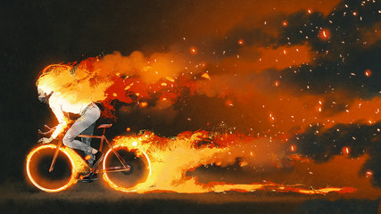 man riding a mountain bike with burning fire on dark background, digital art style, illustration painting
