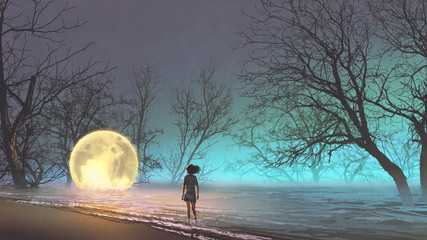 night scenery of young woman looking at the fallen moon on the lake, digital art style, illustration painting