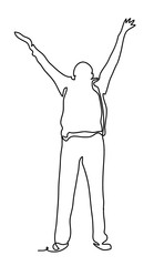 Man with hands raised in the sunset concept for religion, worship. Cheering man open arms. Continuous line drawing. Isolated on the white background. Vector monochrome, drawing by lines. sketch