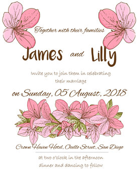 Wedding invitation with azalea in hand drawn style.