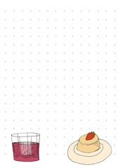 Paper note book template with biscuit cupcake and drink in hand drawn style.