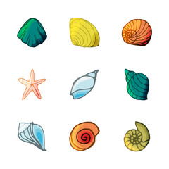 9 shell icons set in cartoon style.