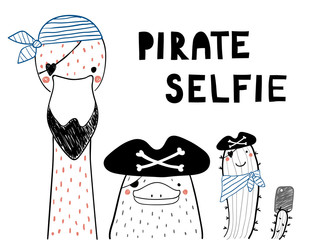 Printed roller blinds Illustrations Hand drawn portrait of a cute funny platypus, flamingo, cactus in pirate hats, taking selfie. Isolated objects on white background. Line drawing. Vector illustration. Design concept for children print