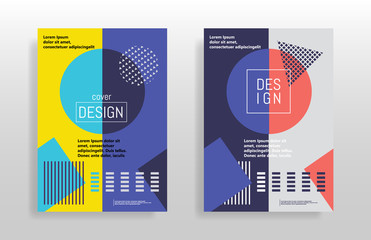 Minimal abstract design posters. Covers templates set with bauhaus memphis and hipster style graphic geometric elements. Design for placards, brochures posters covers and banners. Vector illustrations