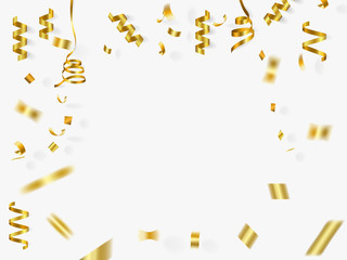 gold ribbon and confetti on white