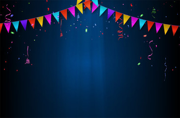 celebration background with party flag,ribbons and confetti