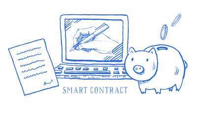 Hand drawn vector sketch cartoon doodle smart contract ethereum illustration with money box and laptop blue on white background