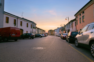 Montagnana, Italy - August 25, 2017: Alberti Street in the evening at sunset.
