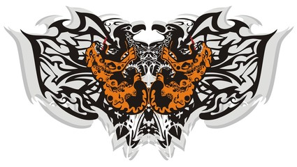 Tribal butterfly wings with leopards. Creative ethnic terrible butterfly formed by the eagle heads and aggressive growling leopards elements on a white background for tattoo art and other