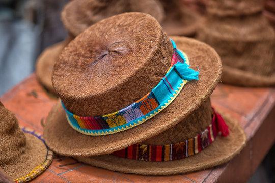 closeup of indigenous hats made of palm tree fiber in Ecuador