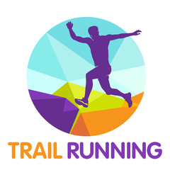 Vector logo silhouette of a runner running forward dynamics power trail marathon mountains jump endurance nature energy