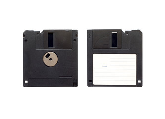 Flexible magnetic disk, floppy disk, white background