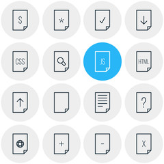 Vector illustration of 16 document icons line style. Editable set of css, add, file and other icon elements.