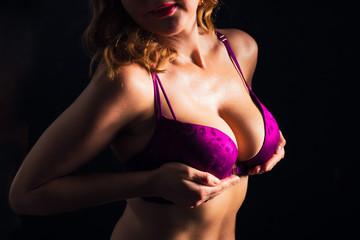 Woman in pushup bra