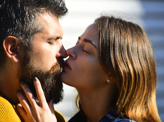 Couple in love kissing. Man and woman with dreamy faces