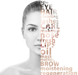 Beautiful woman face with tag beauty words.