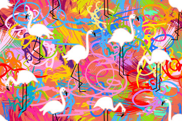 Pink flamingos on grunge background.