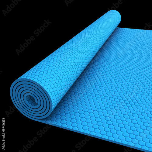 Blue half rolled yoga pilates mat  3d render on black
