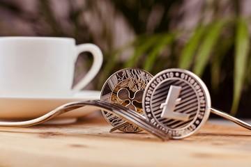 Litecoin coffee concept