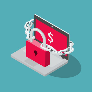 Ransomware vector symbol with laptop, red padlock and chain isolated on blue background. Flat design, easy to use for your website or presentation.
