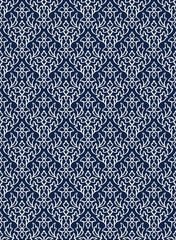 Woodblock printed indigo dye seamless ethnic floral damask pattern. Traditional oriental ornament of India Kashmir, geometric leaves and flowers ogee, ecru on navy blue background. Textile design.