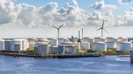 Oil storage silo tanks in a  port terminal