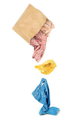 Clothes falling out of the package isolated on white background
