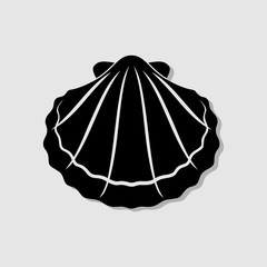 Seashell, shellfish flat icon for apps and websites. Vector illustration.