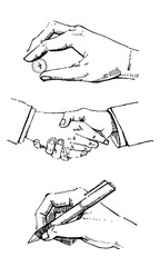 Hand drawn vector sketch cartoon set of hands. Signing, holding ethereum crypto currency coin and handshaking. Black on white background