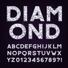 Diamond alphabet font. Luxury jewellery letters and numbers. Stock vector typography.
