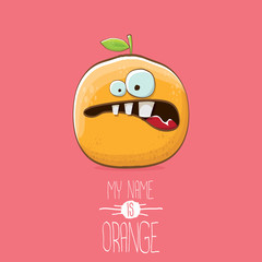 vector funny cartoon cute orange character isolated on pink background. My name is orange vector concept. super funky citrus fruit summer food character