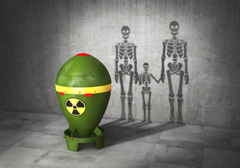 Nuclear war concept. Nuclear bomb cast shadow in form of skeletons family. 3d illustration