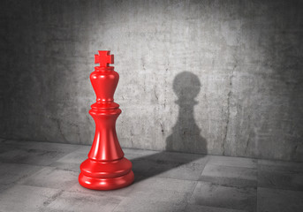 Vanity concept. King of chess cast shadow in form of pawn. 3d illustration