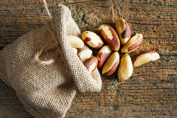 Brazil nuts in small sack