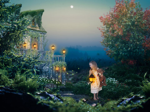Little girl at night. A fabulous house. Children's story