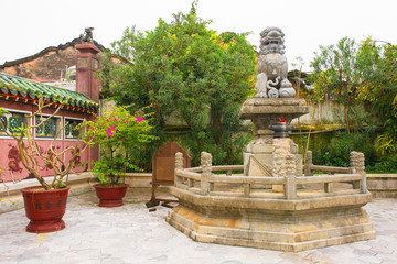 The grounds in Phuoc Kien (or Fukian, Fujian or Phuc Kien) Assembly Hall built in 1697 by Chinese merchants in the historic UNESCO listed central Vietnamese town of Hoi An