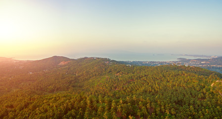 Aerial view of sunset over mountain jungle
