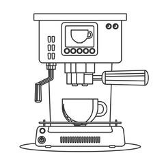 Contour icon coffee machine with a mug. Stock flat vector illustration.