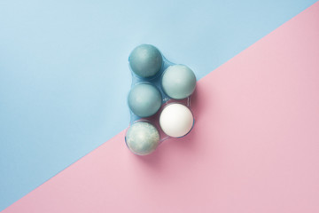 Conceptual still life photo of several blue eggs in plastic geometric egg boxes on the minimalist diagonal pink and blue background
