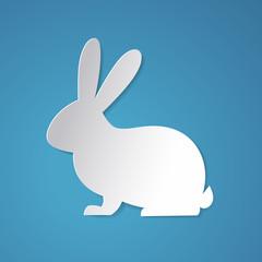 Easter rabbit designed in paper art style.