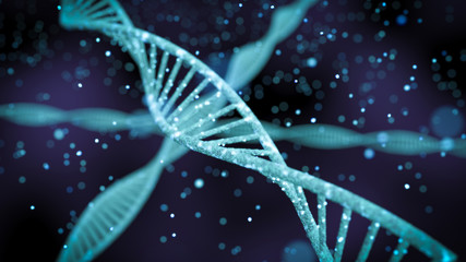 human dna with glowing particles 3d illustration