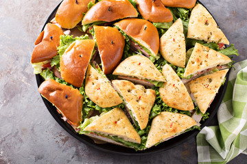 Tray of turkey and ham sandwiches