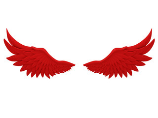 red angel wings isolated on a white background 3d rendering