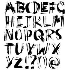 Handdrawn dry brush font. Modern brush lettering. Grunge style alphabet. Vector illustration.
