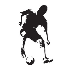 European football player with ball, soccer. Isolated vector silhouette