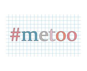 metoo hashtag on checkered paper sheet- vector illustration