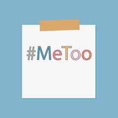 metoo hashtag written in notebook paper- vector illustration