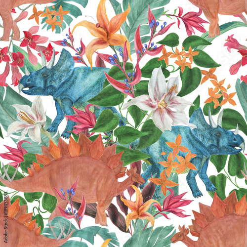 Watercolor Painting Seamless Pattern With Dinosaurs And Tropical