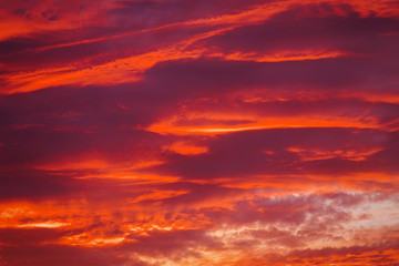 Beautiful fiery sunset sky as background